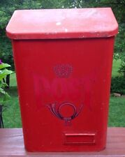 Vintage Tin Metal Mailbox Letter Box Authentic POST From Sweden Red Wall Mount