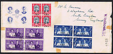 South Africa 1947 Royal Visit Cover with 4-Stamp Blocks of SG111 to SG113 'SWA'