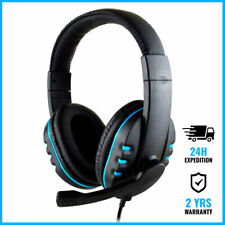 SOONHUA WIRED GAMING HEADSET HEADPHONES OVER EAR ECOUTEUR BLUE + MICROPHONE