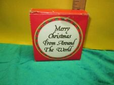 1986 MERRY CHRISTMAS Cork-Backed Coasters & Tin From AROUND THE WORLD