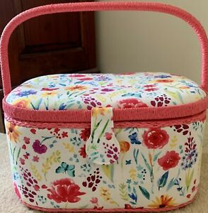 Large Pink Floral Sewing Basket Box With Handle And Removable Organiser
