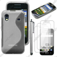 Housse Coque Silicone Transparent Samsung Galaxy Ace S5830 + Stylet + 3 Films