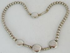 Fine sterling silver & 14k Yellow gold bead necklace, round & disk pillow beads