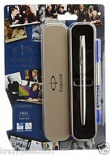 Parker Frontier Steel Chrome Trim CT Rollerball Roller ball Pen, Blue Ink, New