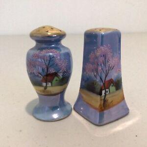 Vintage J. Design Ceramic Hand Painted Salt & Pepper Pots. Made in Japan #453