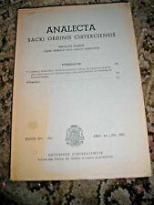 ANALECTA SACRI ORDINIS CISTERCIENSIS RELIGIOUS HISTORICAL MAGAZINE 1957 GERMAN