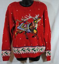 Mary Engelbreit M Medium Christmas Reindeer Sweater Jingle Bells Hand Knitted