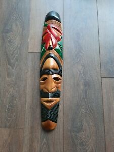 Large Vintage African Hand Carved Wooden Wall Hanging Tribal Mask - approx 63cm