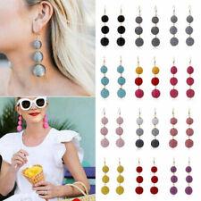 Boho Tassel Three Large Ball Long Linear Dangle Drop Earrings Statement Jewelry