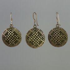 Tibetan VTG Earrings 925 Sterling Silver 3pc Set Pendant Eternal Knot Tribal