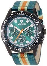 NEW Lancaster OLA0483BKVR-VRAORVR Men's Chronograph Green & Orange Strap Watch
