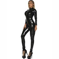 S-5XL Women Shiny Catsuit Zip Open Crotch Bodysuit PU Leather Jumpsuit Overalls