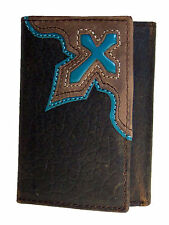 Nocona Mens Western Tri-fold Brown Leather Wallet Turquoise Cowboy Cross