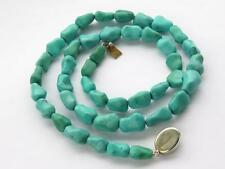 ANTIQUE VICTORIAN CHINESE TURQUOISE MATRIX BEAD NECKLACE - 53.5 GRAMS.