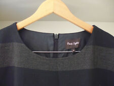 PHASE EIGHT 'SAPPHIRE' TUNIC DRESS - GREY STRIPED - FRONT POCKETS - SIZE 18
