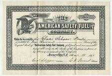American Safety Fuel Company, Jersey City Nj 1891 Stock Certificate