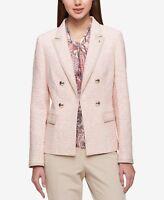 $139 TOMMY HILFIGER Double-Breasted NEW Women Sz 8 Tweed Jacket Blazer Pink