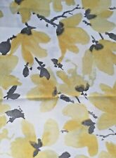 VERA Neumann White Yellow/Gray Floral Fabric Shower Curtain