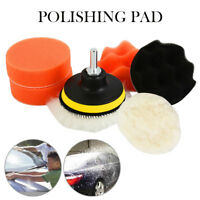 "6PCS 3"" Car Polisher Pad Buffer Gross Polish Polishing Kit Set Drill Adapter UK"