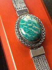 Authentic Lori Bonn RARE Amazonite Cabochon Sterling Silver Unique Bracelet