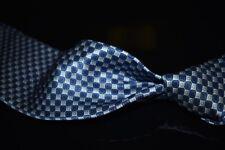 Brioni Italy Liquid Gloss Satin Ocean Blue Silver Mosaic Checkerboard Silk Tie