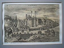 Italian Etching of Urbino Walled City,Tuscan Romagnolo Apennines Region, Italy