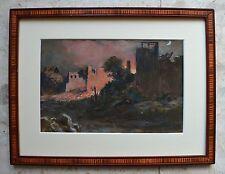 """EYSSERIC Joseph (1860-1932) """"Feux de bengale dans les ruines à Verdun"""" Guerre"""