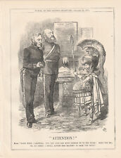 1871 Punch Cartoon Attention Cardwell+Duke of Cambridge Joint Commanders of Army