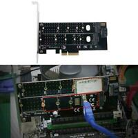 PCIE to M2 M.2 Dual NVMe SSD NGFF Adapters M&B Key SATA Riser New Card C5A2