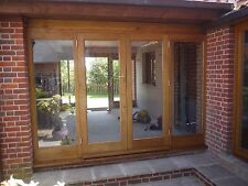 Solid Oak Hardwood French Doors And Frame With Side Panels
