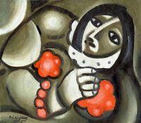 """Expressionist """"Mädchen mit Blume"""" Öl Leinwand 35x30 cm"""