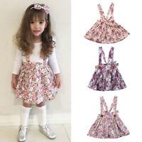 Newborn Toddler Baby Girl Floral Party Princess Bib Strap Skirt Dress Clothes RA