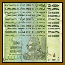 Zimbabwe 10 Trillion Dollars x 10 Pcs, 2008 AA Circulated Used, 100 Trillion ser