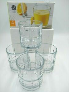 4 Libbey HOOPS Glasses 10 Sided Clear 12.9 oz each Boxed Drinkware