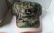 JOHN DEERE *CAMO LEAF PINK BRIM* Ladies TRADEMARK LOGO HAT CAP *BRAND NEW*