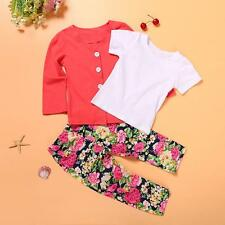 Summer 3PCS Set Toddler Baby Girls Coat+T-shirt+Floral Pants Outfits Clothes 3T