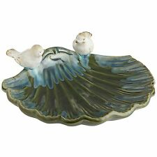 LARGE GLAZED CERAMIC SEA SHELL WITH BIRDS, NEW, IN/OUTDOOR, DISH, POTPOURRI