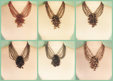 6PC Handmade Beaded Gemstone Cluster Choker Necklace WHOLESALE LOT 6 Colors