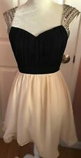 Brand New LITTLE MISTRESS LONDON DRESS BLACK/BEIGE PARTY Size 4