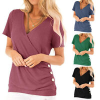 Women's V Neck Buttons T-Shirts Solid Wrap Short Sleeve Blouse Casual Tunic Tops