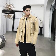 Correa de Corto de Moda para Hombre Abrigo de comodidad Punk Rock Gótico informal chaqueta de otoño