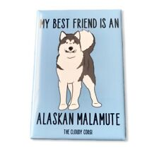 Alaskan Malamute Dog Magnet Handmade Best Friend Cartoon Art Gifts and Decor
