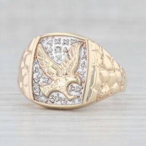Diamant Akzentuierte Adler Signet Ring 10k Gelb Weiß Gold Klumpen Band Größe