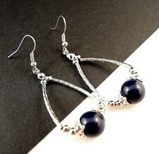 1 Natural Pair of Lapis Lazuli Gemstone Tear Drop Dangle Earrings - #221