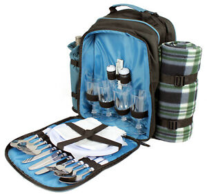 Picnic Set 4 person Family Cool Bag Backpack Hamper insulated Cutlery Blanket
