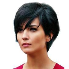 Moda para mujer natural cabello humano negro peluca corta a prueba de calor