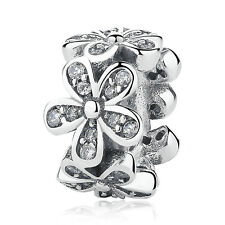 2pcs Silver Flower European Charm Beads Fit 925 Necklace Bracelet Chain SQ789