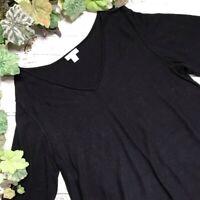 J Jill Womens Black Silk Blend V Neck Long Sleeve Tunic Top Oversize Size Medium