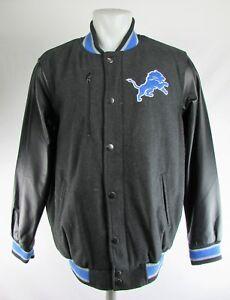 Detroit Lions NFL Men's Large Snap Up Wool Blend  w/ Faux Leather SLeeves Jacket