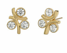 3 Stone Stud Earrings CZ Round Crystal Gold Plated Fashion Jewelry Unique Gift